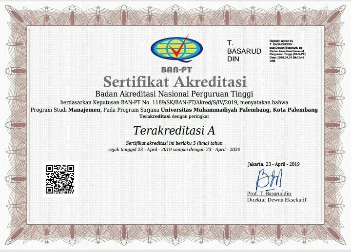 Akreditasi Manajemen S1 2019 (A)