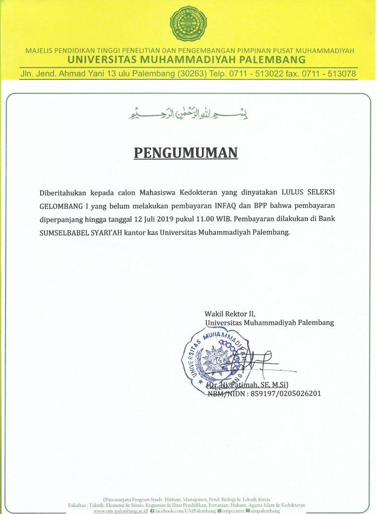 Perpanjangan FK Bayar