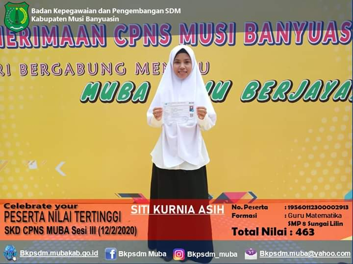 Siti Kurnia Asih, Sarjana Lulusan Universitas Muhammadiyah Palembang Raih Nilai Tertinggi SKD CPNS di Kabupaten Muba