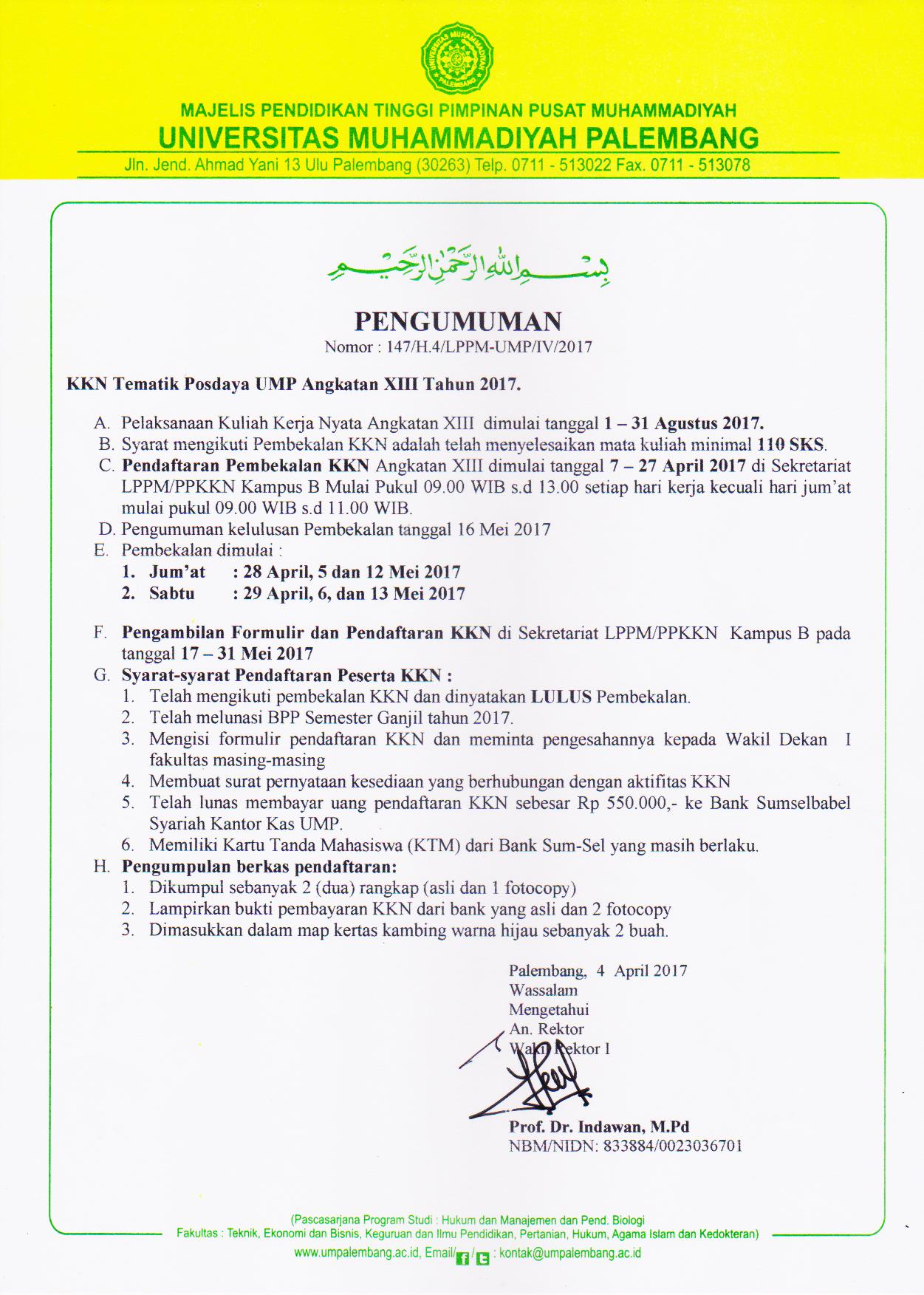Pengumuman KKMU dan Reguler Angkatan 48