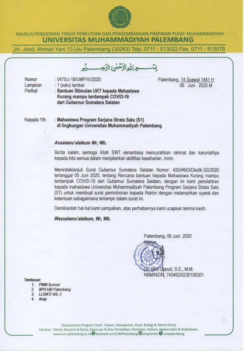 Bantuan Stimulan Ukt Kepada Mahasiswa Kurang Mampu Terdampak Covid 19 Dari Gubernur Sumatera Selatan Universitas Muhammadiyah Palembang