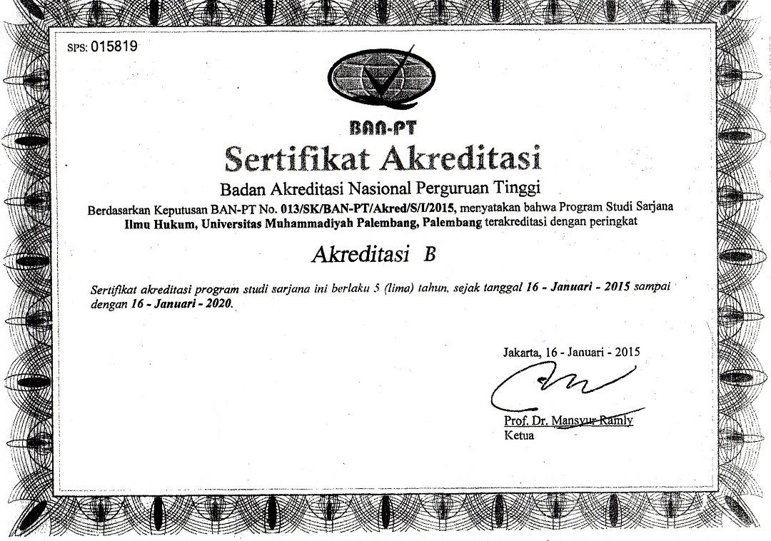 Akreditasi Ilmu Hukum S1